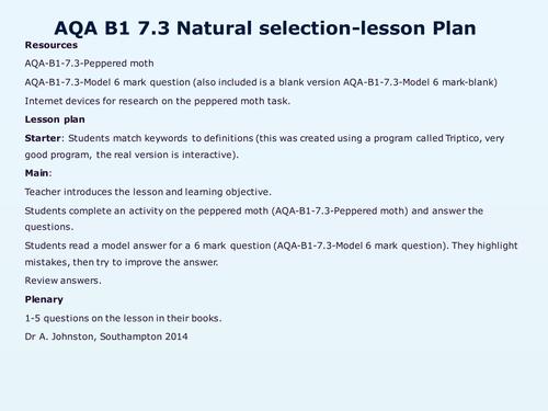 AQAB17Evolution by WonderCaliban Teaching Resources Tes – Natural Selection Worksheets