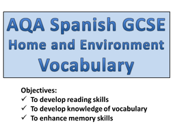 GCSE Spanish - Home and Environment Vocabulary.pptx