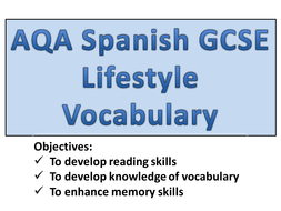 GCSE Spanish - Lifestyle Vocabulary.pptx
