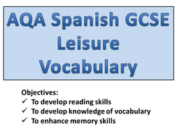 GCSE Spanish - Leisure Vocabulary.pptx