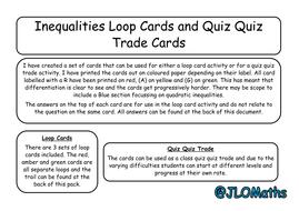 Inequalities Loop Cards/Quiz Quiz Trade Cards