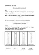 Plants experiment write up