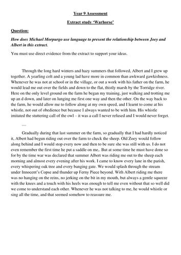 War horse book report