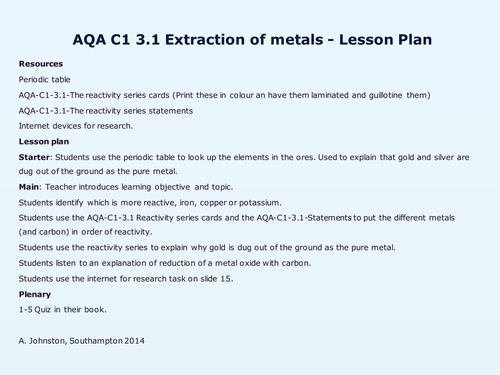 Aqa c1 3 metals and their uses by wondercaliban teaching resources aqa c1 3 metals and their uses by wondercaliban teaching resources tes urtaz Images