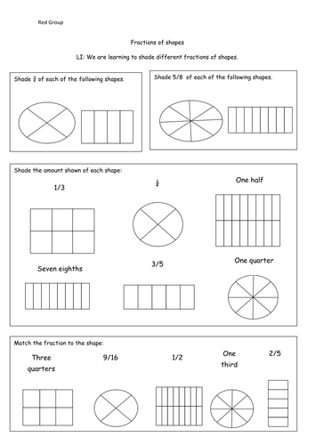 Fractions Shading Different Fractions Of Shapes By