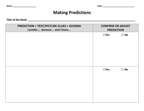 Making Predictions by kylegiesbrecht Teaching Resources Tes – Prediction Worksheet