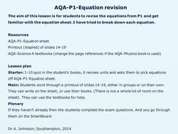 AQA-P1-Equation revision