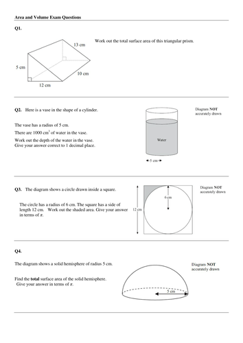 Volume and Area - A/A* GCSE questions by mrsmorgan1 - Teaching ...