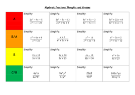 Algebraic Fractions Thoughts And Crosses By Leond06 Teaching