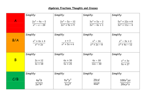 Algebraic Fractions Thoughts and Crosses by LeonD06 Teaching – Algebraic Fractions Worksheet with Answers