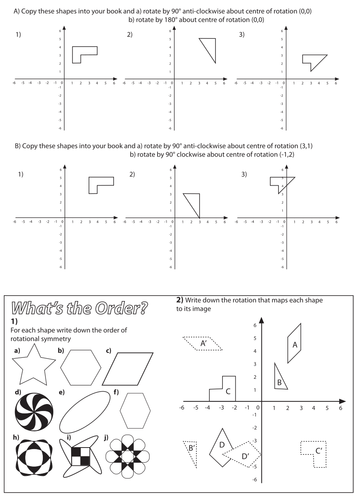 rotation worksheet by christyfalconer teaching resources tes. Black Bedroom Furniture Sets. Home Design Ideas