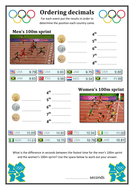 olympic ordering decimals by mrliamhall  teaching resources  tes olympic ordering decimals worksheetpdf