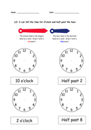 Time with coloured clock hands key