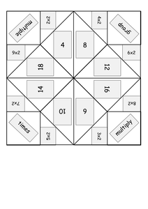 Times/multiplication table origami fortune tellers