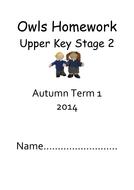 Lower and Upper KS2 Homework Books Autumn 2014