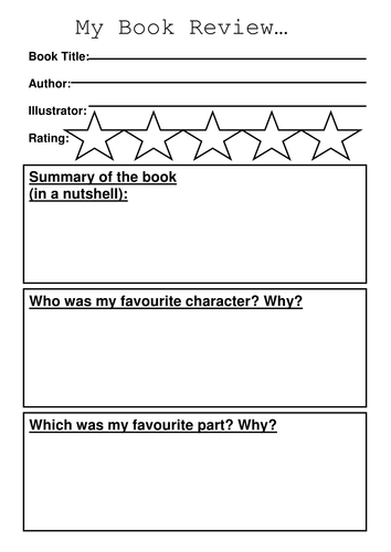 sample of letter of recommendation book review template by sibrooks teaching resources tes 2523