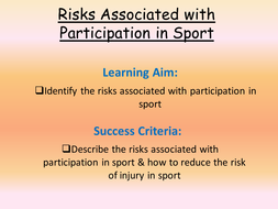Risks associated with Sports Participation