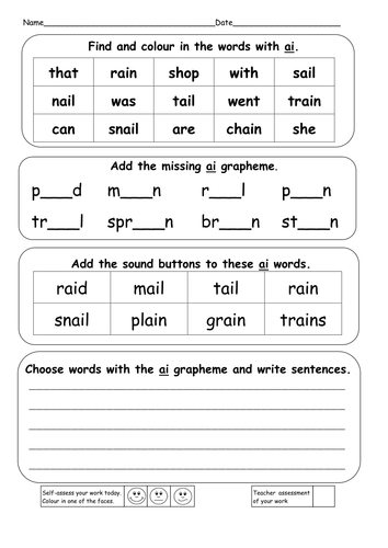 Worksheets Ai Ay Worksheets ai ay a e powerpoints and resources by ruthbentham teaching find colour in the words with doc