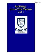 Edexcel AS Biology Unit 1 - Just in time revision