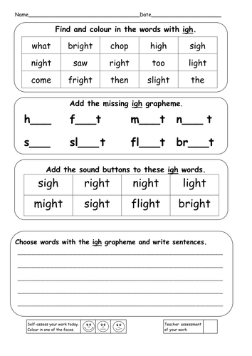 Worksheets Igh Worksheets phonics ie igh i e and y powerpoints resources by ruthbentham find colour in the words with doc