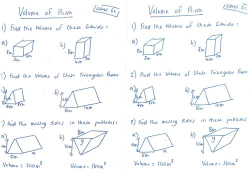 Volume of 3D Shapes Triangular Prisms Cylinder by – Volume of a Triangular Prism Worksheet