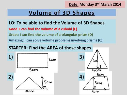 Volume of 3D Shapes Triangular Prisms Cylinder by – Volume of Triangular Prism Worksheet