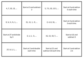Term to Term Sequences - Pairs
