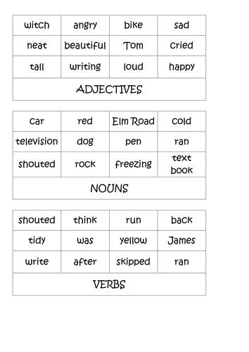 Nouns, verbs & adjectives KS2 activities by shanfog - Teaching ...