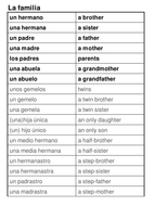 Family worksheets - Y4 Spanish