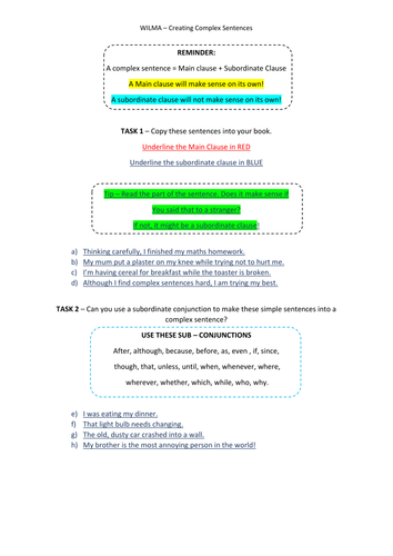 Complex Sentence worksheet - using sub clause by gwoodford ...
