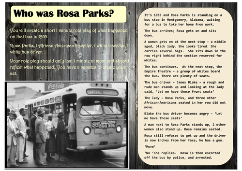 Rosa Parks by sarahhist1123 Teaching Resources TES – Rosa Parks Worksheets