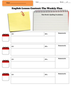 English Weekly Lesson Plan Template By Emmaline Teaching - Weekly lesson plan templates