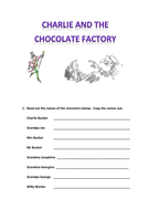 Charlie and the Chocolate Factory-themed worksheet