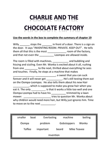 Charlie and the Chocolate Factory-themed worksheet by aisling1967 ...