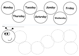 Days Of The Week Caterpillar By Lwalsh75 Teaching Resources