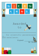 science award certificate excellence by wjbroad teaching resources
