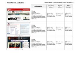 Digital Literacy - Website Authorship - Politics News.docx
