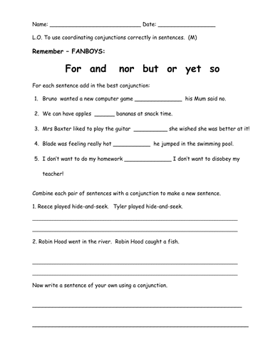 Worksheets Fanboys Worksheet fanboys conjunctions by bethrob teaching resources tes