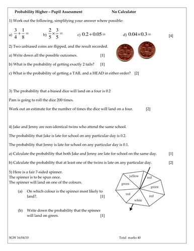 Probability Worksheet or Test by sjg117 - Teaching Resources - TES