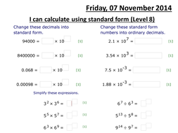 Multiplying and Dividing Standard Form by Rebecky_xo - Teaching ...
