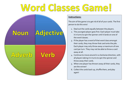 Word classes game by carly11 - Teaching Resources - TES