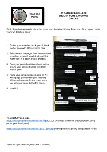 blackout poetry task by tanyamatthews teaching resources tes. Black Bedroom Furniture Sets. Home Design Ideas