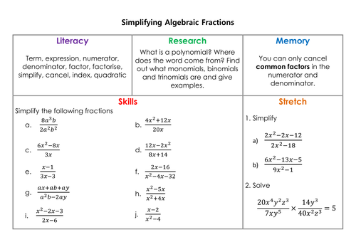 Simplify Algebraic Fractions Worksheet algebraic expressions kid – Algebraic Fractions Worksheet