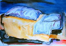 'Hospital bed, no. 13' - watercolor painting on paper, by Hubertine Heijermans  22x30 cm.JPG