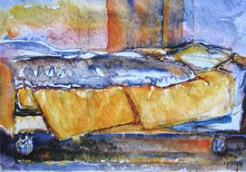 'Hospital bed, no. 24' - watercolor painting on paper, by Hubertine Heijermans  22x30 cm.JPG