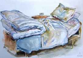 'Hospital bed, no. 9' - watercolor painting on paper, by Hubertine Heijermans  22x30 cm.JPG