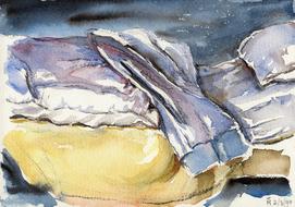 'Hospital bed, no. 16' - watercolor painting on paper, by Hubertine Heijermans  22x30 cm.jpg