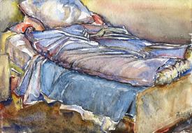 'Hospital bed, no. 27' - watercolor painting on paper, by Hubertine Heijermans  22x30 cm.jpg
