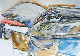 'Hospital bed, no. 38' - watercolor painting on paper, by Hubertine Heijermans  22x30 cm.JPG