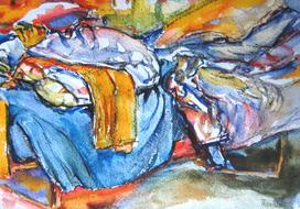 'Hospital bed, no. 32' - watercolor painting on paper, by Hubertine Heijermans  22x30 cm.JPG